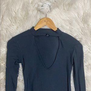 Forever 21 long sleeved grey midi dress